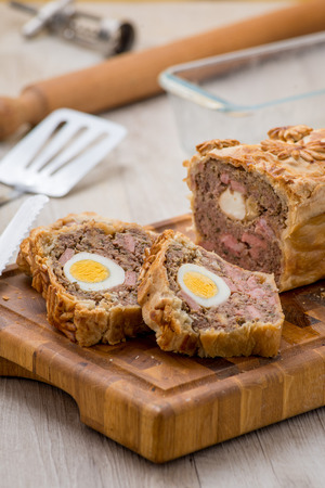 Meatloaf in crust with egg photo