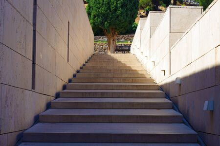 Detail of stairs by Delphi Archaeological Museum, Greece. Street photography. Stock Photo