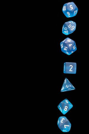 RPG set blue says for playing role playing games on black blackground. Stock Photo
