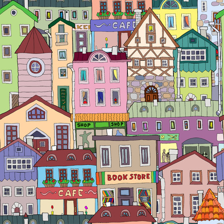 handdrawn: hand-drawn pattern with old houses