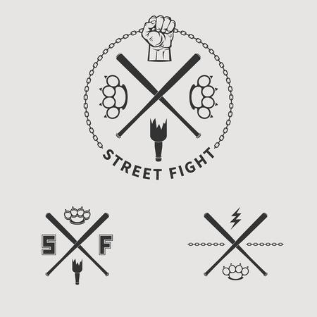fist fight: Street fight emblem logo vector