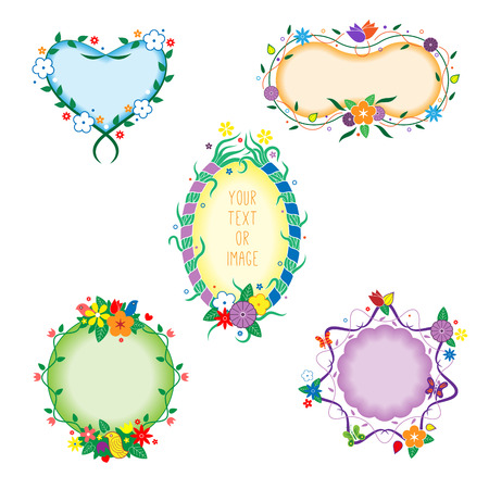 Colorful Decorative Vector Frames For Photo, Picture Or Message ...