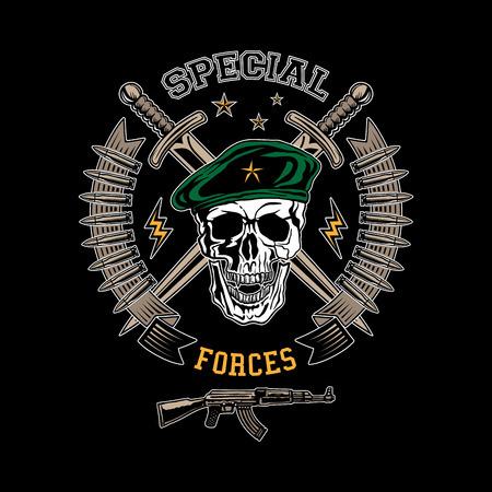 military beret: Special forces colored vector emblem with skull, daggers and gun.
