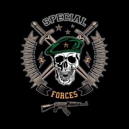 Speciale krachten gekleurde vector embleem met schedel, dolken en pistool. Vector Illustratie