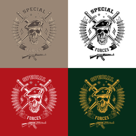 Special forces monochrome vector emblem on different backgrounds with skull, daggers and gun.