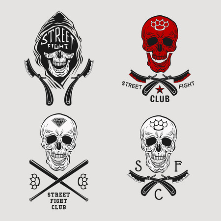 Vector illustration street fight emblem with skull, brass knuckles and straight razor.