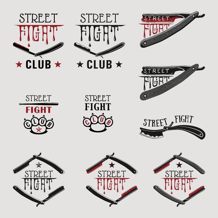 Vector illustration street fight emblem with brass knuckles and straight razor. Çizim