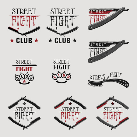 knuckle: Vector illustration street fight emblem with brass knuckles and straight razor. Illustration