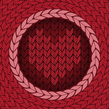 knitted background: Fondo hecho punto con el coraz�n. Resumen de vectores de ilustraci�n.