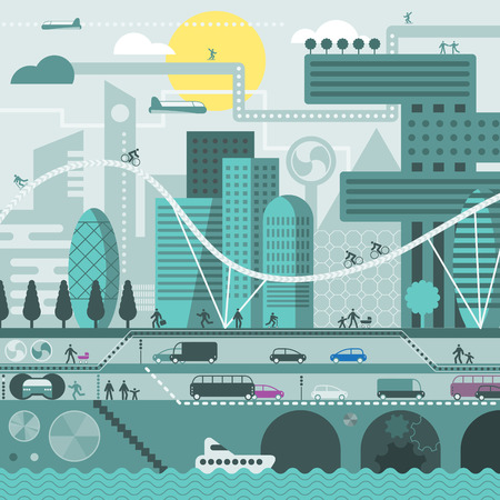 cold colors: Vector city illustration in flat style and in cold colors - houses, buildings, trees, street with walking people, cars, boat.