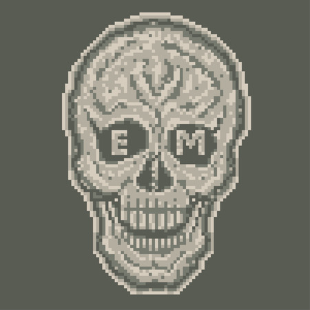 Vector conceptual illustration. Skull in digital camouflage style. Vector