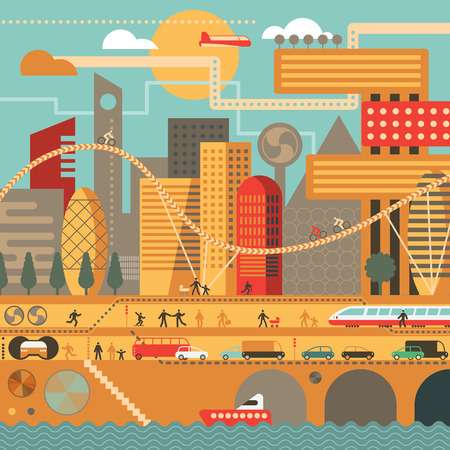 train: Vector city illustration in flat style and in warm colors - houses, buildings, trees, street with walking people, cars, boat and train.