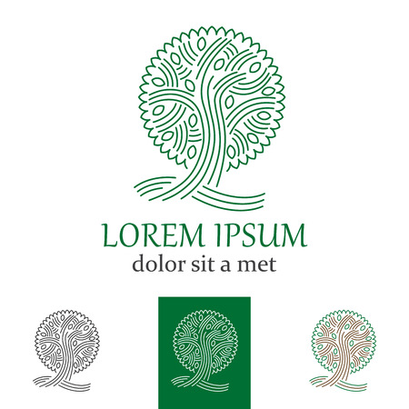 tree of life silhouette: Vector green tree  or sign for company Illustration