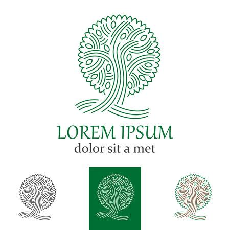 Vector green tree  or sign for company Ilustração