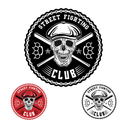 Vector illustration street fighting club emblem with skull, brass knuckles, bats, chain and cap.