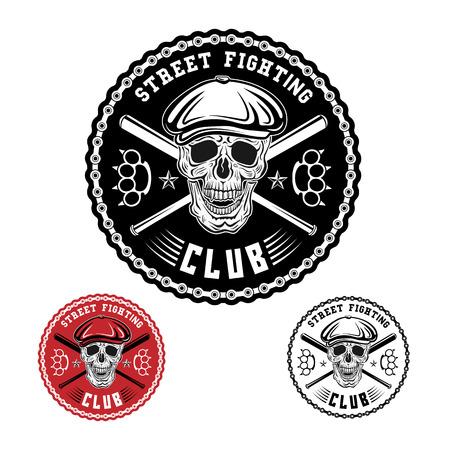 Vector illustratie straatgevechten club embleem met schedel, boksbeugels, knuppels, ketting en dop.