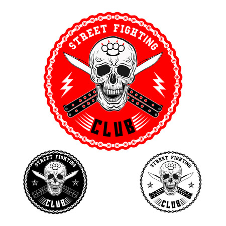 knuckles: Vector illustration street fighting club emblem with skull, brass knuckles, knives and chain.