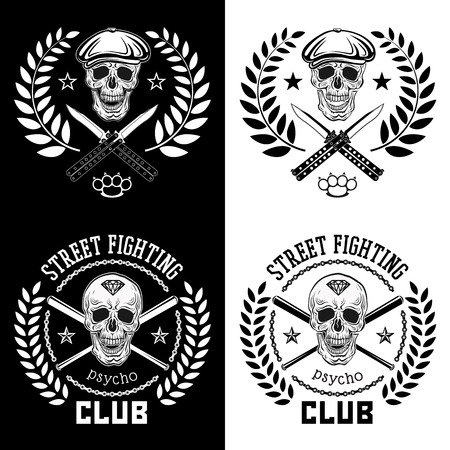 Vector illustration street fighting club emblem with skull, brass knuckles, bats, knives, chain and cap.