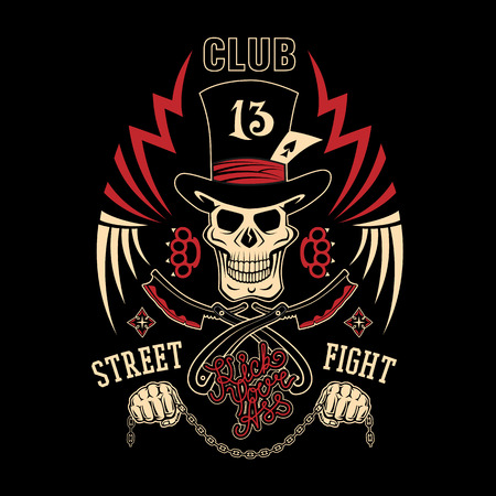 knuckles: Colored vector illustration street fighting club emblem with cylinder hat, skull, brass knuckles, razors, stars and inscription. Street fighting club 13. Kick your ass.