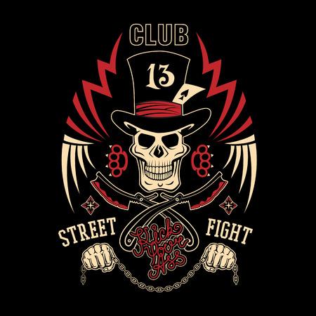 """Gekleurde vector illustratie straatgevechten club embleem met cilinder hoed, schedel, boksbeugels, scheerapparaten, sterren en inscriptie. """"Straat vechten club 13. Kick je kont."""""""