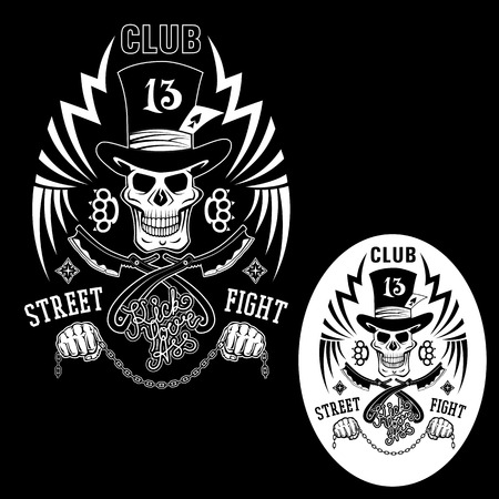 Black-white vector illustration street fighting club emblem with cylinder hat, skull, brass knuckles, razors, stars and inscription. Street fighting club 13. Kick your ass.
