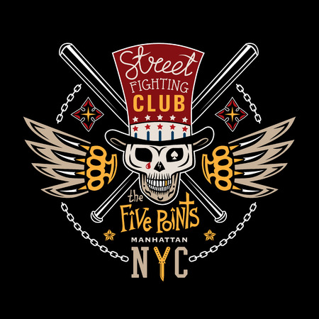 knuckles: Colored vector illustration street fighting club emblem with cylinder hat, skull, brass knuckles, bats, stars and inscription. Street fighting club. The Five Points. Manhattan, NYC. Illustration