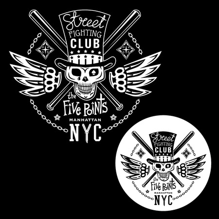knuckles: Black-white vector illustration street fighting club emblem with cylinder hat, skull, brass knuckles, bats, stars and inscription. Street fighting club. The Five Points. Manhattan, NYC.