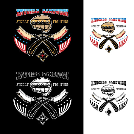 knuckle: Vector illustration street fighting club emblem with knuckle, brass knuckles, razors, stars and inscription. Knuckle sandwich. Street fighting. Illustration