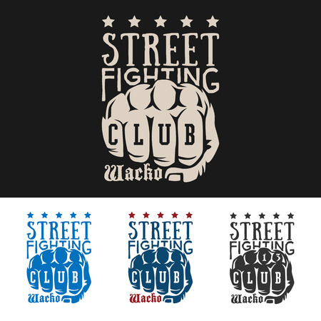 knuckle: Vector illustration street fighting club emblem with knuckle, stars and inscription. Street fighting club. Wacko.