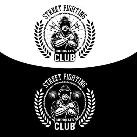 pelea: Ilustración vectorial club de la lucha callejera emblema con luchador, cadena y corona.