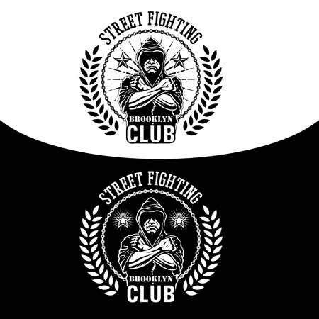 Vector illustration street fighting club emblem with fighter, chain and wreath. Ilustração