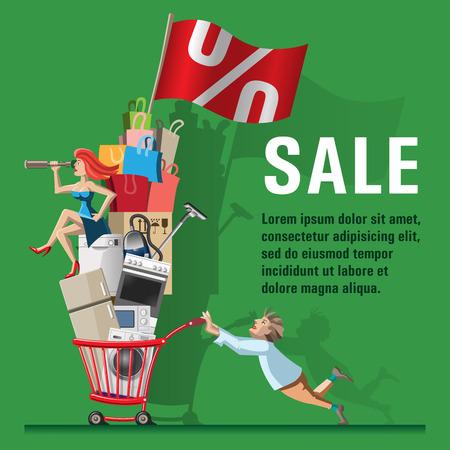 Comic Vektor-Illustration verkaufen. Mann trägt Einkaufswagen mit voller Einkaufs gefüllt. Für den Kauf der Frau sitzt und schaut durch ein Teleskop. Konzept für Web-Banner und Drucksachen. Standard-Bild - 39379669