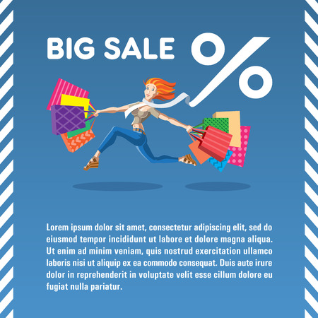 Vector illustration Big Sale. Running girl with bags. Concept for web banners and printed materials.