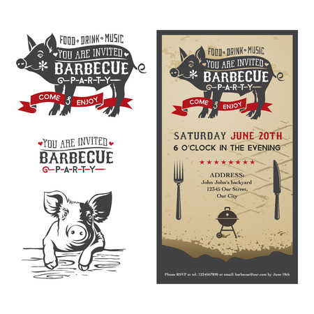 pork meat: Invitation card to the barbecue party with a silhouette of a pig