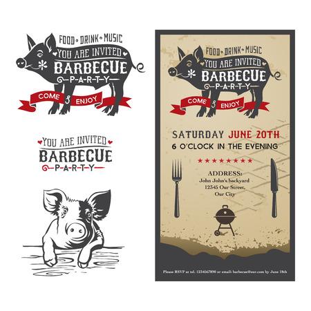 cochinitos: Tarjeta de la invitación a la fiesta de barbacoa con una silueta de un cerdo