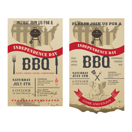 july: 4th of July Independence day of America barbecue invitation card