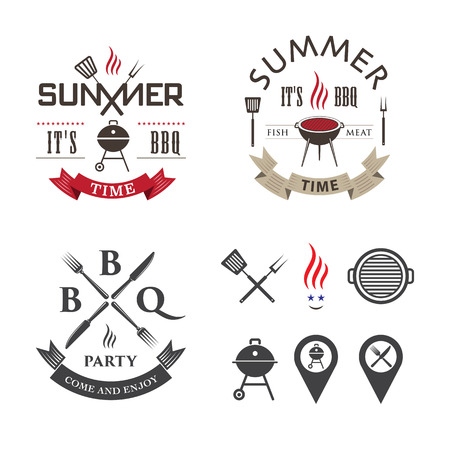 knife and fork: Vector set barbecue design elements and logos