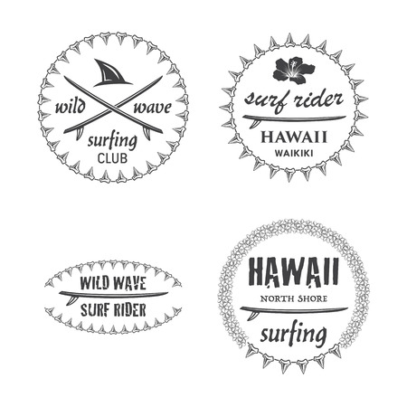 shark teeth: Navegar vector emblema establece con lei hawaiano, tabla de surf, dientes de tibur�n.