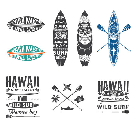 Surfing vector emblem set with hawaiian lei, surfboard, shark teeth, shark, skull and paddle.