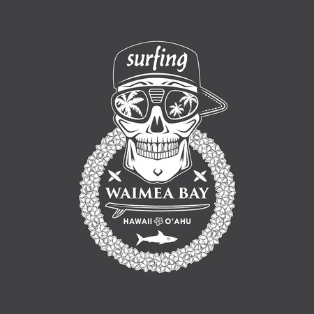 Surfing vector emblem with hawaiian lei, surfboard, shark and skull cap and sunglasses. Ilustração