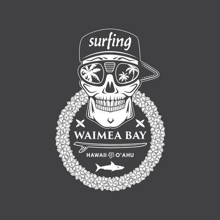 hawaiian flower: Surfing vector emblem with hawaiian lei, surfboard, shark and skull cap and sunglasses. Illustration