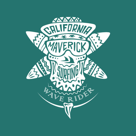 surfing: Surfing monochrome ornamental vector emblem with surfboards and skull cap and sunglasses with inscriptions: California, Maverick, surfing and wave rider. Illustration