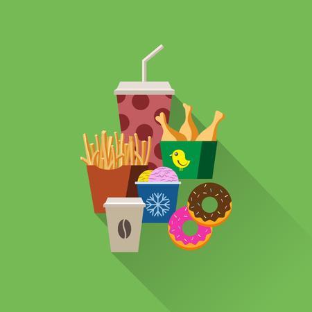 Concetto di vettore set piatto fast food. Flayer fast food, poster. Caffè, cocktail, soft drink, patatine fritte, pollo arrosto, gelato e ciambella. Vettoriali