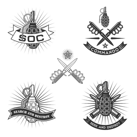 Military vector emblem with grenade, daggers and ribbons.