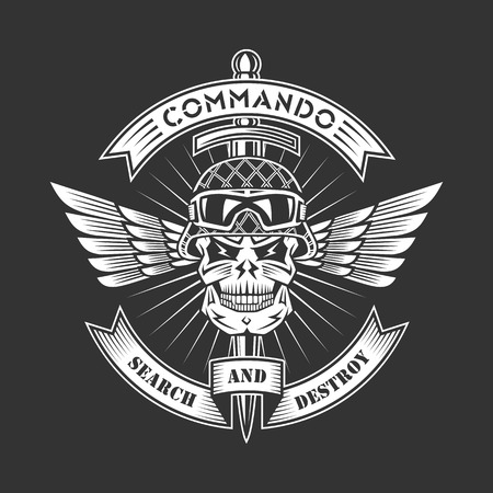 Military vector emblem with skull, ribbons, wings, dagger and helmet.