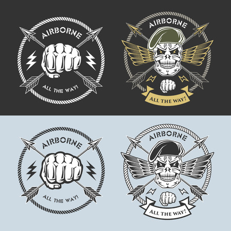 Airborne vector emblems with skull, arrows, wings, beret and fist.