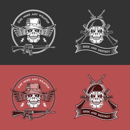 berets: Military vector emblem with wings, guns, ribbons, skulls, berets and Panama hats.