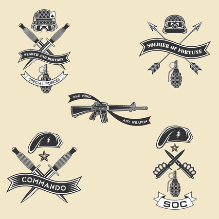 Military vector emblem with gun, arrows, grenade, daggers and helmets.
