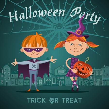treating: Halloween flat vector illustration with children trick or treating in Halloween costume.