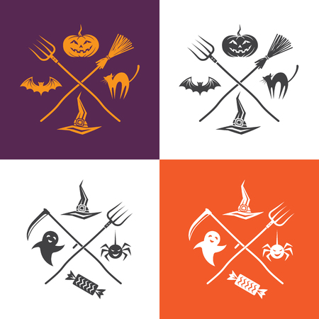 halloween spider: Halloween vector illustration with Halloween emblems with a broom, pitchfork, scythe, pumpkin, hat, spider, ghost and candy.